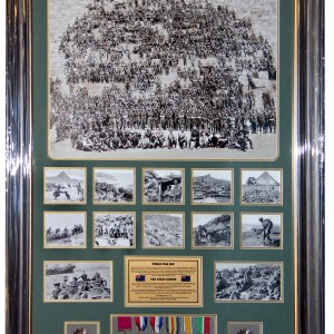 Anzac 8 Medals Frame Brown Gold Frame 0518
